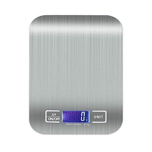 Coolshopy Fácil de limpiar Escala digital de acero inoxidable de acero inoxidable Escala de cocina digital 10kg / 5kg Escalas de alimentos de precisión Peso digital Grams y Oz, ML, LBZ Función de pela