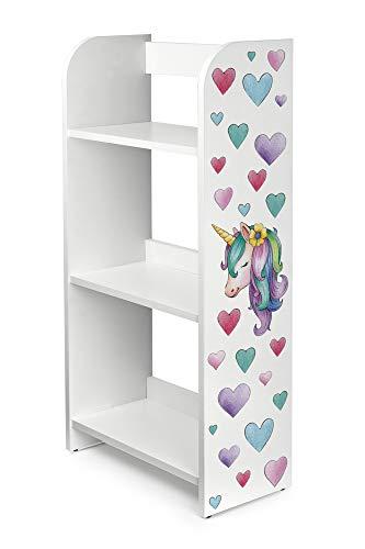 Leomark scaffale per cameretta Bambini, Mobile Porta Giocattoli, libreria Armadio Pannelli Stile scandina, mobili in legnotema, Motivo: Unicorno, Dimensioni: 50cm x 25cm x 102,5cm (LxPxA)