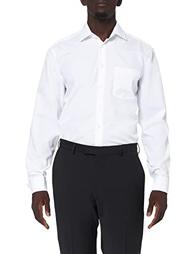 Seidensticker Herren Business Hemd Modern Fit – Bügelfreies Hemd mit geradem Schnitt, Kent-Kragen & Brusttasche – Langarm – 100% Baumwolle , Weiß (01 weiß) , 43