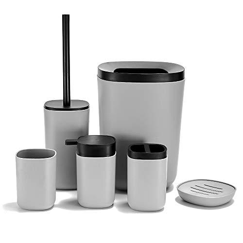 GRICOL 6 szt. zestaw akcesoriów łazienkowych organizer na śmieci pojemnik na szczotkę toaletową uchwyt na mydło dozownik balsamu kubek do płukania