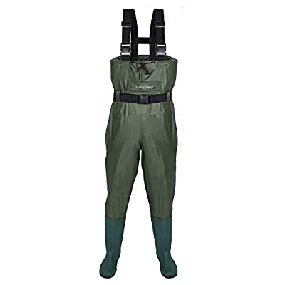 TRIPLE TREE Chest Wader, Hunting Fishing Waders for Men & Women with Boots and Wading Belt, Waterproof Nylon/PVC Bootfoot Wader (Size9-13)