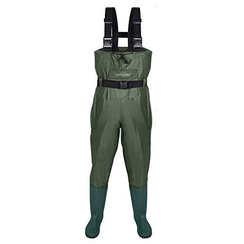 TRIPLE TREE Chest Wader for Men with Boots, Waterproof Fishing Waders Breathable Nylon Waders with a Big Pocket and Drawstring Design for Fly Fishing, Hunting and Emergency Flooding