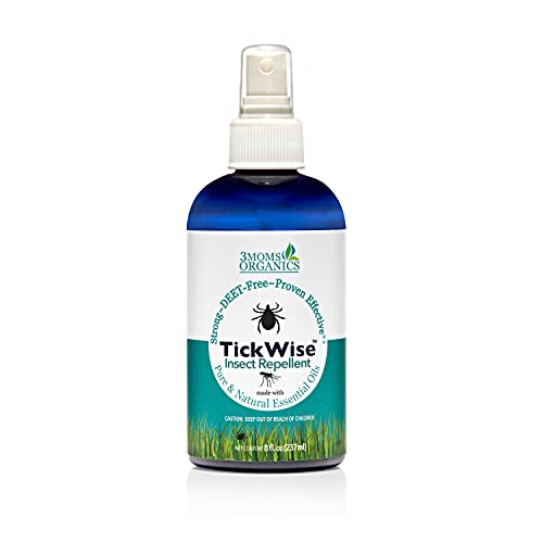 TickWise (8 oz) 3 Moms Organics Easy Fine Mist Spray Bottle, DEET-Free Pure and Natural Essential Oils, Strong & Proven Effective Against Ticks and Other Biting Insects