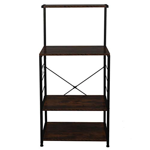 Utility Storage Shelf Microwave Stand with Side Hooks, Kitchen Organizer Rack 4 Tier Shelves Adjustable, Kitchen Storage Cupboard, Antique Wood Color (60 X 40 X 123) cm (L X W X H)