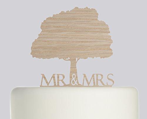 Bride And Groom Mr & Mrs Oak Tree Wedding Cake Topper Acrylic Cake Topper - Oak Wood Acrylic