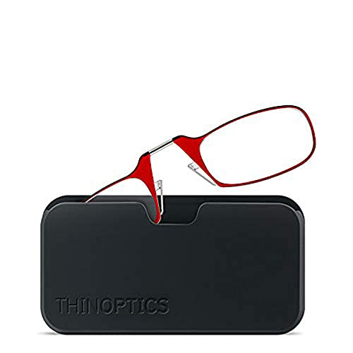 ThinOptics Reading Glasses + Black Universal Pod Case | Classic Collection, Red Frames, 1.00 Strength