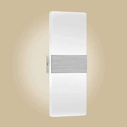 Kimjo Aplique Pared Interior 12W Blanco frio 6000K, Lámpara de Pared Interior LED AC 85-265V, Lámpara de Pasillo en Acrílico Moderna para Corredor, Dormitorio, Escalera, Lámpara de Decoración
