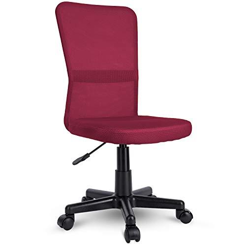 TRESKO Sedia da Ufficio Sedia da scrivania Girevole, in 6 Colori Diversi, Regolabile in Altezza, Sedile Imbottito, Sedia ergonomica, pistone Approvato SGS (Rosso Vino)
