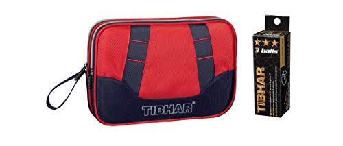 TIBHAR Table Tennis Double Cover Deluxe (Black/RED), Free: 3 Star 40mm ITTF Approved Celluloid Balls (Pack of 3)
