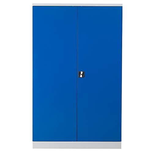 Certeo Stahlschrank | HxBxT 195 x 120 x 42 cm | Eurolock | Grau-Blau verzinkt | Flügeltürenschrank Aktenschrank Metallschrank Stahlschrank Werkstattschrank