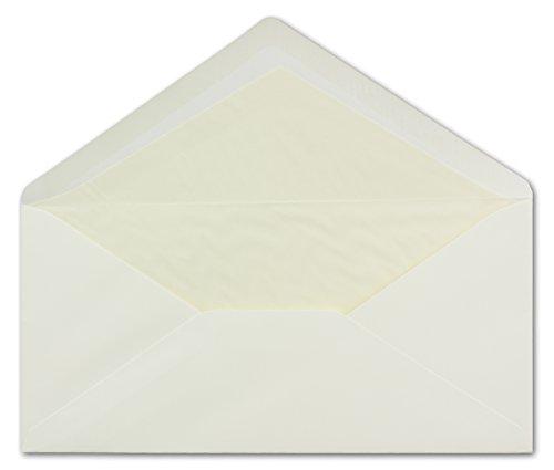 300 DIN Lang Briefumschläge champagner-farben 11 x 22 cm 80 g/m² cremefarbenes Seidenfutter Nassklebung - ideal für Weihnachtskarten, Grußkarten & Einladungen