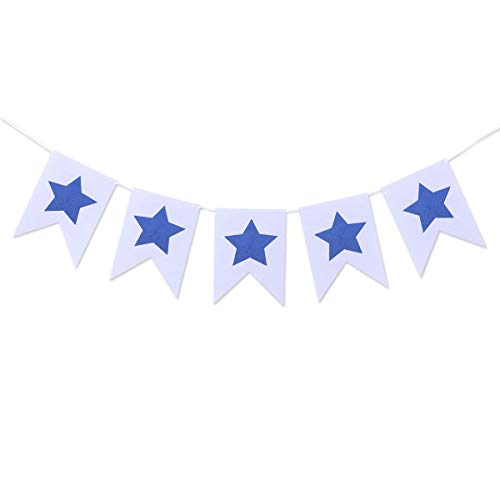 Amosfun Fourth of July Bunting Banner Patriotic Banner Star Felt Banner Hanging Burgee Banner Garland National Day Decoration