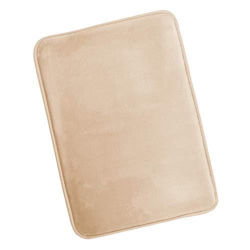PARAMA Alfombra de baño de espuma viscoelástica de 43 x 61 cm, antideslizante, fácil de lavar, absorbe rápidamente y resistente, suave, alfombrilla de baño de microfibra (beige)