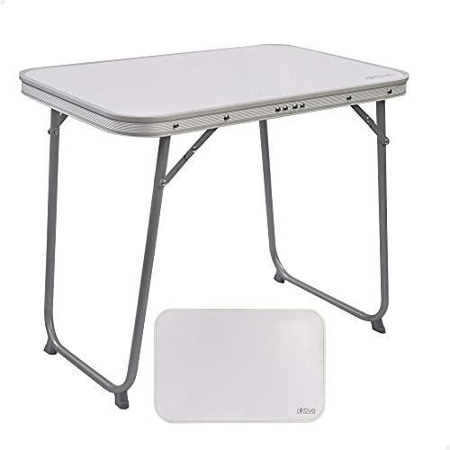 Aktive 52870 - Mesa camping plegable, Mesa ligera, patas plegables, medidas 60x40x50 cm, madera MDF, estructura de acero, color blanco, asa de transporte