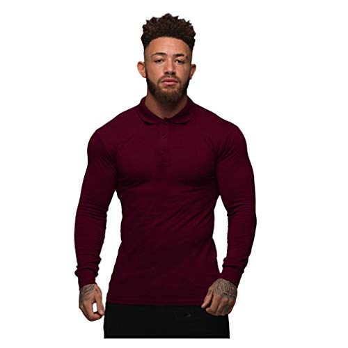 Yowablo Tee-Shirts Tee Shirt T Shirt T-Shirt Haut Manche Longue Tshirt T Shirts Polo Hommes Mode Sport Bouton Stretch T-Shirt Serré Stretch Chemise À Manches Longues (M,du Vin)