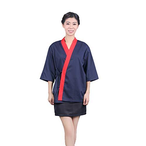 Jolie Unisex Kimono Kochjacke Japanische Hotelküche 3/4 Hülse Arbeitskleidung Uniform Kochmantel,Blau,XXL