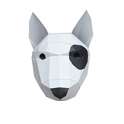 CHOUDOUFU Estatua Escultura Adorno Mscara De Papel 3D Bull Terrier Disfraz De Animal Cosplay DIY Papel Artesana Modelo Mscara Navidad Halloween Fiesta De Graduacin Regalo