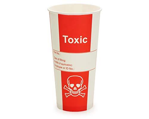 Lot de 50 gobelets en carton pour laboratoire ou fête – Contenance 500 ml – Motif tête de mort et inscription « Toxic »