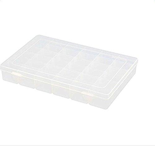 Fablcrew Schmuck-Organizer, Box, Container, aus Kunststoff, transparentes Gehäuse mit verstellbarer Trennwand, plastik, 36 Grids, 23 X 12 X 4.3cm
