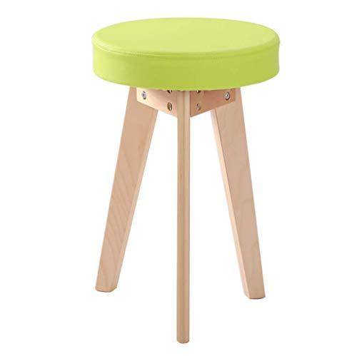 F2 voetenbankje, kruk, voetenbankje, opstapje, kleine bankje, kruk, kruk, salontafel, kruk, massief hout, eetkamerkruk lederkruk Rond-green-polyurethaan