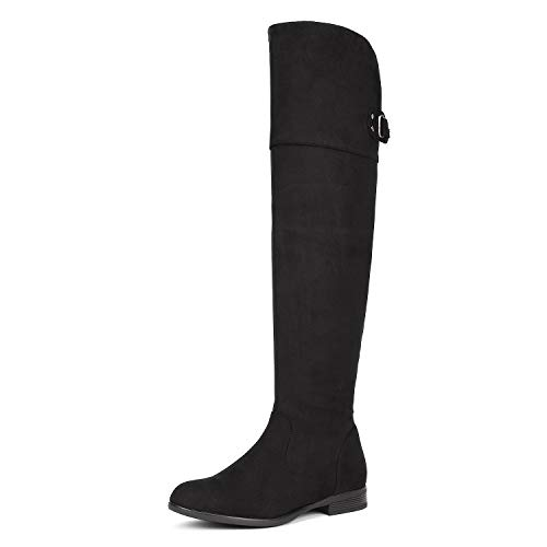 DREAM PAIRS Women's Hi_Flat Black Over The Knee Stretchy Thigh High Boots Size 6 B(M) US