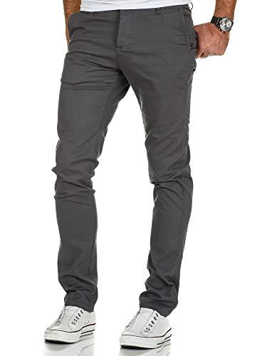 Amaci&Sons Herren Slim Fit Stretch Chino Hose Jeans 7010-09 Dunkelgrau W32/L32