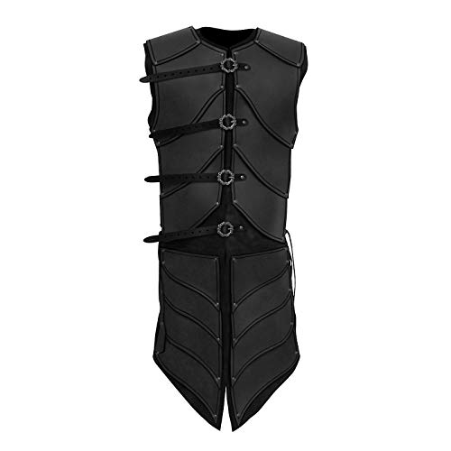Andracor - Lederrüstung Elfenkrieger - Majestätische Echtlederrüstung mit Beinschutz für LARP, Cosplay & Mittelalter in Schwarz
