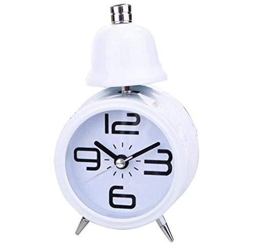 MJ-Alarm Clock Réveil Horloge de Chevet Lumineuse, Enfants étudiants créatifs Horloge Mignonne Moderne d'alarme personnalité Minimaliste, Blanc