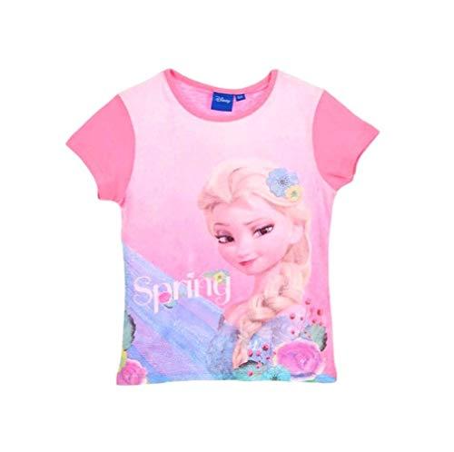 Frozen - Die Eiskönigin T-Shirt Mädchen Anna und ELSA Disney (Rosa, 104)