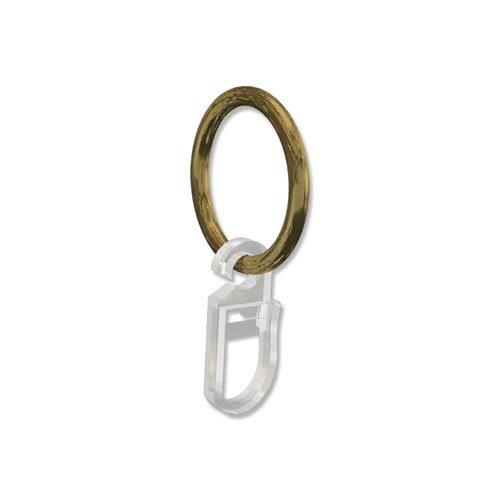 INTERDECO Gardinenringe mit Faltenhaken/Ringe in Messing Antik für Gardinenstangen 16 mm Ø (20 Stück)
