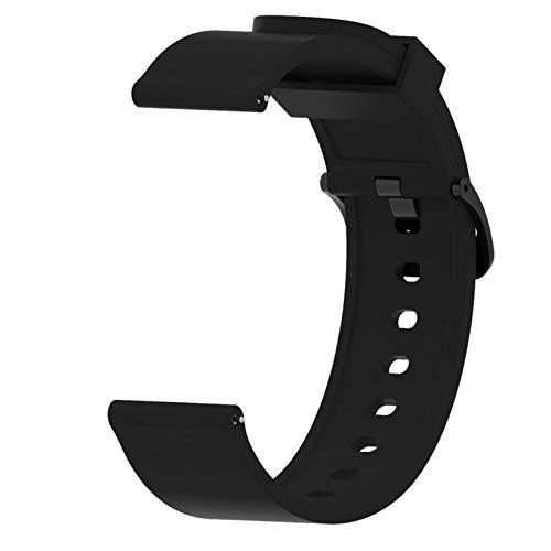 PZZZHF Para Huawei Watch GT2 Strap 42mm Reloj de Silicona brazaletes Brazalete de 20 mm Correa de Reloj para Galaxy Watch Active 2 para Amazfit BIP  (Band Color : Black, Band Width : 20mm)