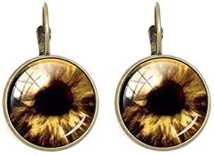 Pendientes de clip con forma de ojo malvado, un regalo genial para hombres y mujeres, forma redonda, cristal de cabujón