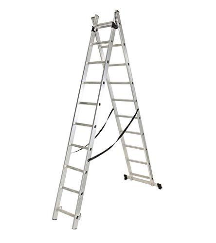 Escalera industrial doble y extensible de 8 peldaños de aluminio