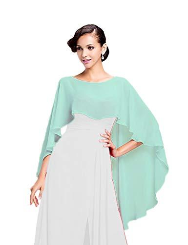 CoCogirls Stola in chiffon per abiti in diversi colori, adatta a qualsiasi abito da sposa, da sera, da matrimonio, da gala o ricevimento azzurro Taglia unica (Mint)