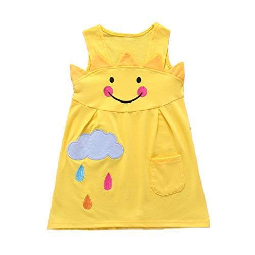 FBGood Mädchen Sommer A-Linienrock Kleid Kleidung Karikatur Sonne Wolke Drucken Prinzessin Kleider Kinder Ärmellos Strandkleid Neugeborenes Party Spielanzug