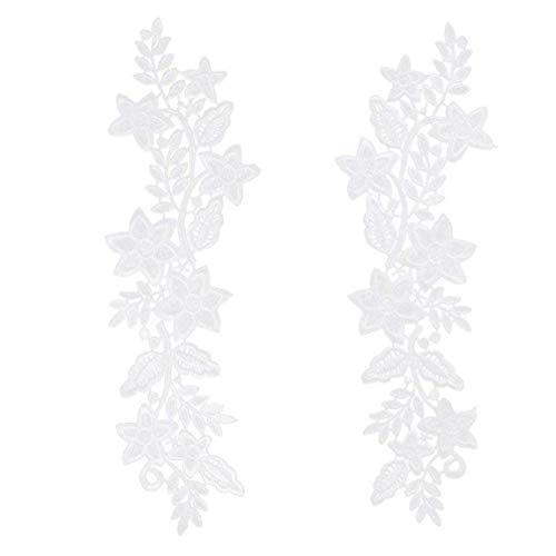 2 PCS del Ajuste del Applique Hermosa Flor del Bordado de Parches Escote de Encaje Hueco Collares de Costura DIY Crafts Blancos