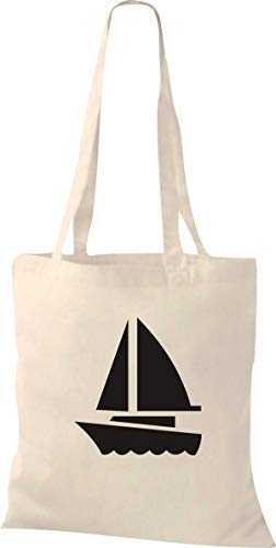 Shirtstown Orgánico Shopper Barco de Vela, Bote, Skipper, Capitán - natural, 37...