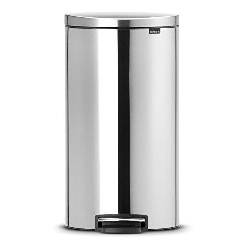 Brabantia 482007 - Cubo de Basura, Flatback, 30 litros, Ahorra Espacio, Cubo Interior de plástico extraíble, Acero Mate Anti-Huellas