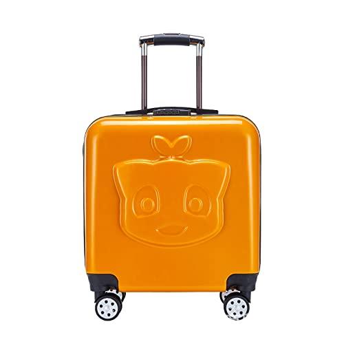 SHJKL Maleta para Niños De 18 Pulgadas, Suitcase Lindas De Dibujos Animados para Niños Y Niñas, Equipaje Liviano De Cáscara Dura con 4 Ruedas, Adecuado para Viajes Y Excursiones,Naranja