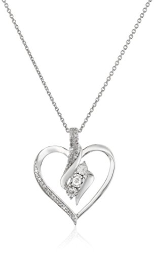 """Sterling Silver Diamond 3 Stone Heart Pendant Necklace (1/4 cttw), 18"""""""