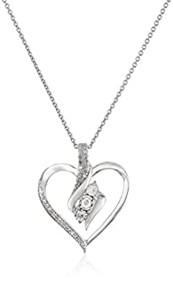 .03 cttw. Solid 925 Sterling Silver Diamond Double Heart Pendant Charm 16mm