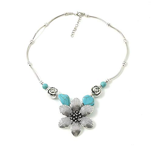 YAZILIND Estilo étnico Flor Colgante Collar Bohemio exótico Turquesa Collares señoras joyería