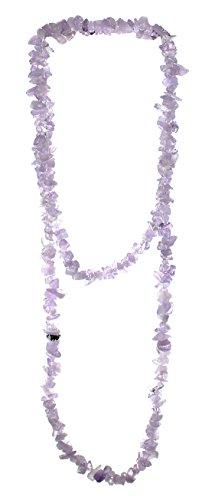 Lavendelquarz Splitter Kette ca. 90 cm lang, Lavendelquarzkette ohne Verschluss