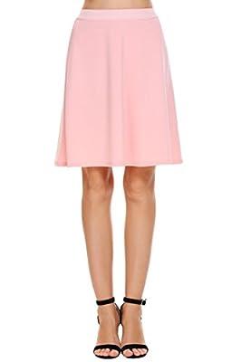 Chigant Basic Solid Elastic High Waist A-line Flared Skater Skirt