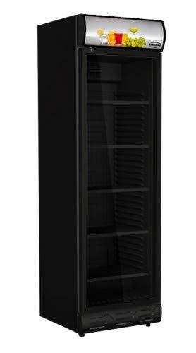 Flaschenkühlschrank mit Glastür schwarz 400 Liter Kühlschrank statische Kühlung Getränkekühlschrank Gewerbekühlschrank 620 x 690 x 2073 mm