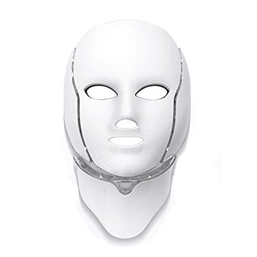 Lopbinte 7 Colores de Luz Led Máscara Facial Con Rejuvenecimiento de La Piel Del Cuello Cuidado Facial Cuidado de La Belleza Anti Acné Terapia de Blanqueamiento de Instrumentos Ue Enchufe