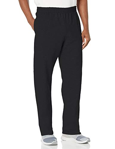 Fruit of the Loom Herren Fleece Pocketed Open-Bottom Sweatpant Jogginghose, schwarz, Mittel