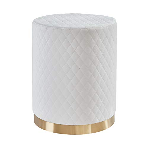 Mxfurhawa Round Velvet Foot Rest Ottoman Stool, Golden Base Soft Compact Padded Stool with Lattice Design, Vanity Stool Side Table Seat Dressing Chair for Living Room, Bedroom and Kids Room (Cream)
