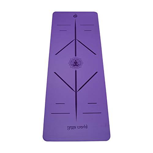 Yoga World Alignment - Esterilla de yoga antideslizante, parte inferior de goma TPE – grueso y duradero para pilates y entrenamiento en casa – Cojín ecológico biodegradable – 182,88 x 66 cm (morado)