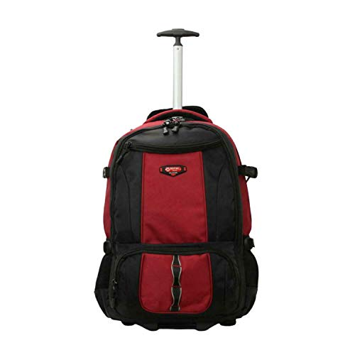 Strong Quality Wheeled Lightweight Power Backpack Rucksack Luggage Trolley Bag (RED 114, Set of 2 (20''+24''))